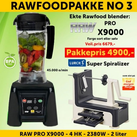 RAWFOODPAKKE 3: RAW Pro X9000 4.0 HK 2.0 l Sort + Lurch Super Spiralizer